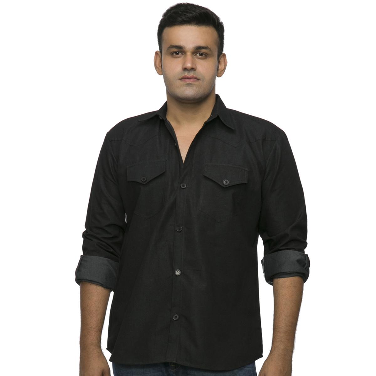 Men Top Wear Casual Shirts Xxllent Black Denim Shirt