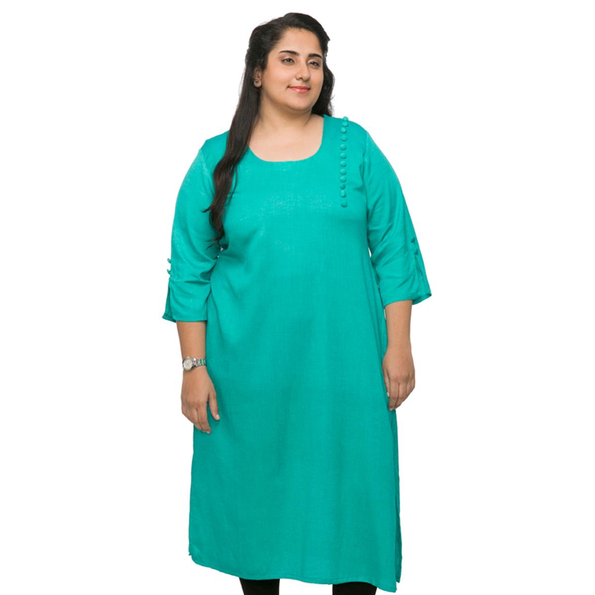 4c51725675b Home Women Kurtis. XXLLENT Aqua Blue Stylish Long Kurti