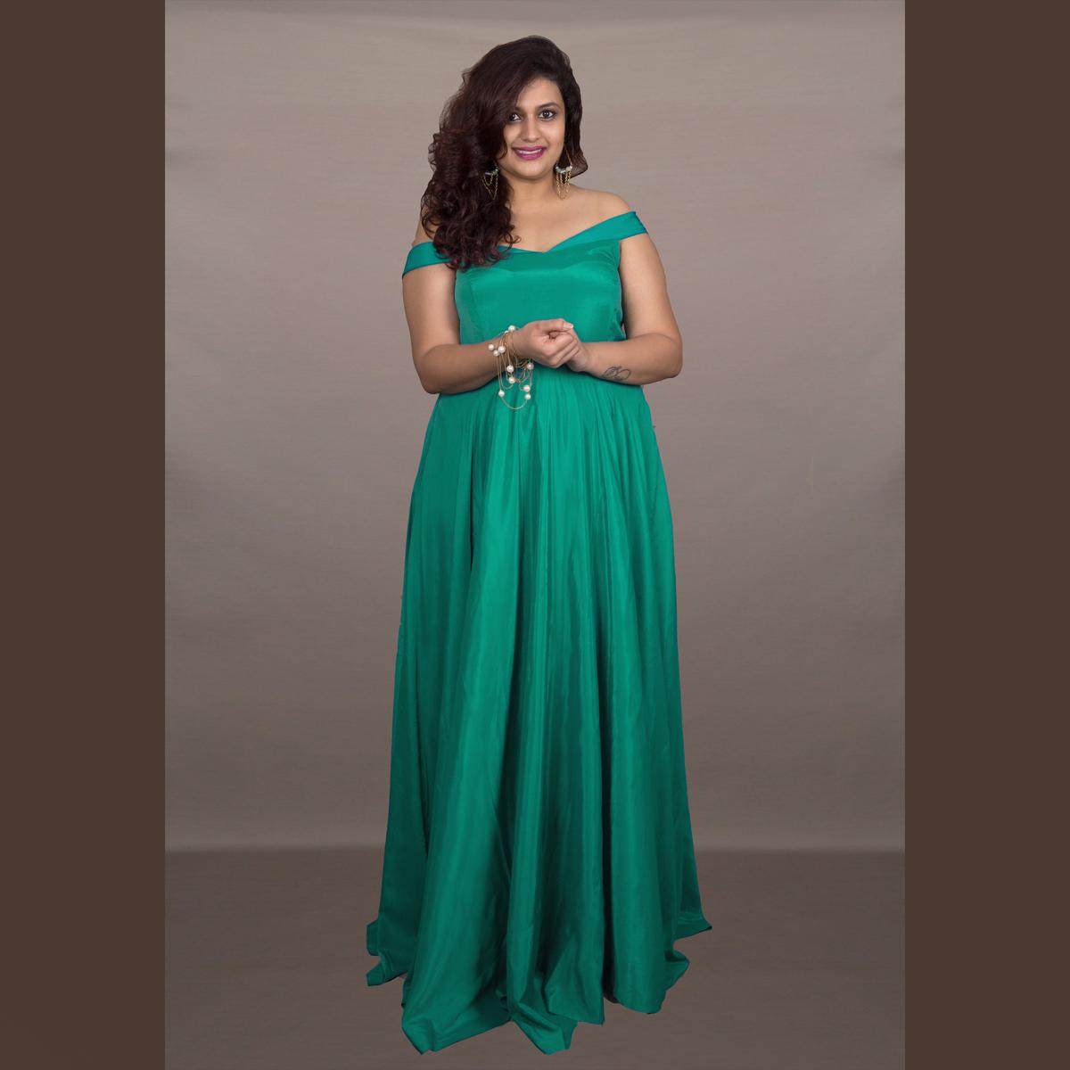 Party Wear, Women, Maxi Dresses   XXLLENT Green Elegant Gown