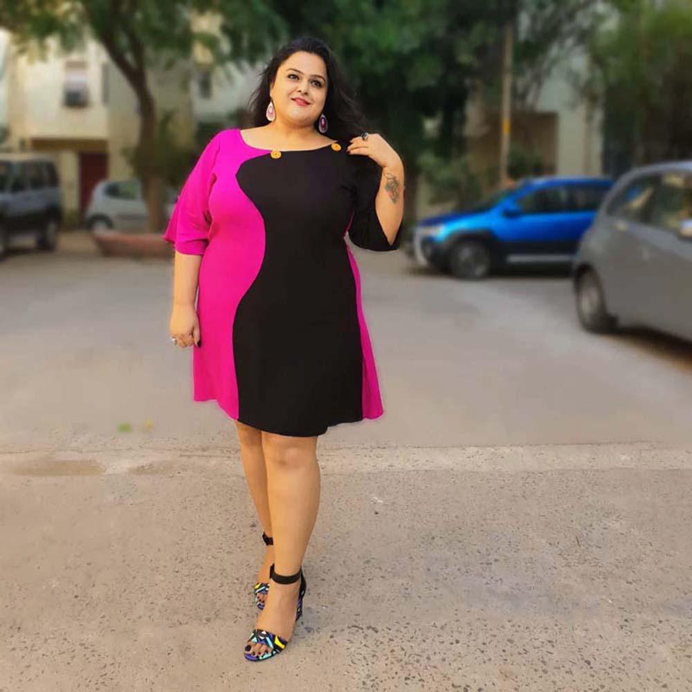 563fb0f4d8 Home Women New Arrivals. Xxllent Pink And Black Rayon Dress